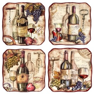 Certified International Vintners Journal Dinner Plates (Set of 4)