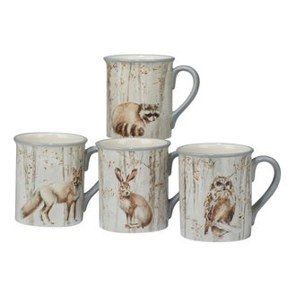 Certified International A Woodland Walk 18-ounce Mugs (Set of 4)