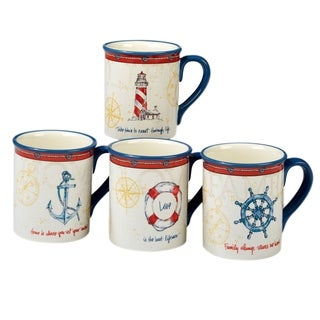 Certified International Coastal Life 18-ounce Mugs (Set of 4)