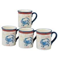 Certified International Coastal Life 18-ounce Crab Mugs (Set of 4)