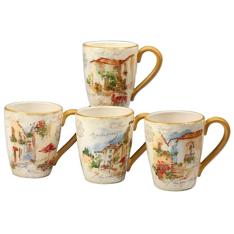 Certified International Piazzette 22-ounce Mugs (Set of 4)