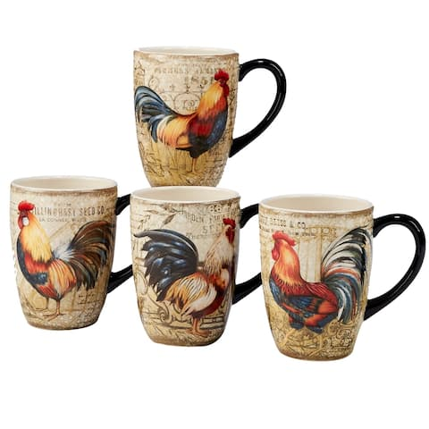 Certified International Gilded Rooster 20-ounce Mugs (Set of 4)