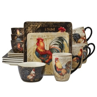 Certified International Gilded Rooster 16-piece Dinnerware Set  sc 1 st  Overstock & Shop Hand-painted Tuscan Rooster 10.25-inch Assorted Ceramic Dinner ...