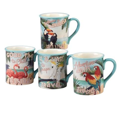Certified International Paradise 18-ounce Mugs (Set of 4)
