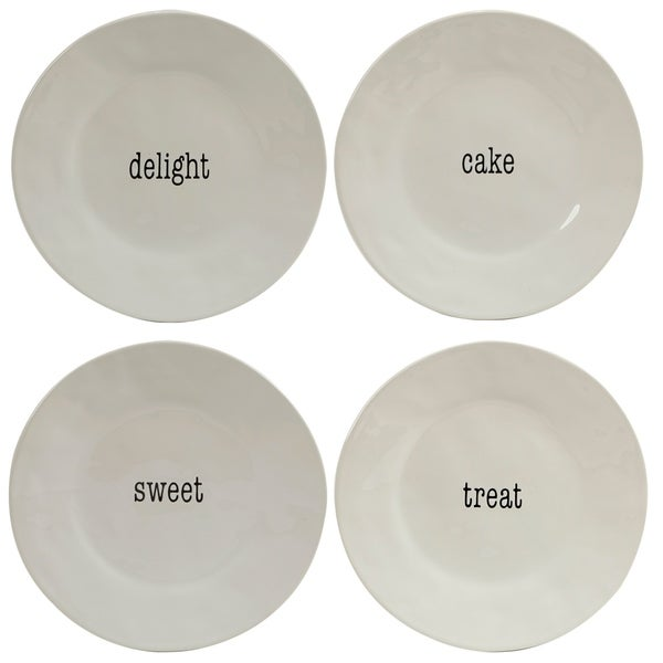 Certified International Itu0026#x27;s Just Words Dessert Plates (Set of 4)  sc 1 st  Overstock.com & Certified International Itu0027s Just Words Dessert Plates (Set of 4 ...