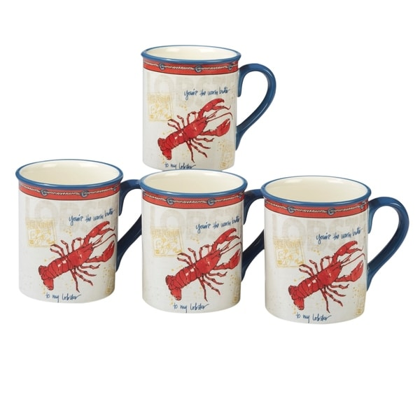 Certified International Coastal Life 18-ounce Lobster Mugs (Set of 4)