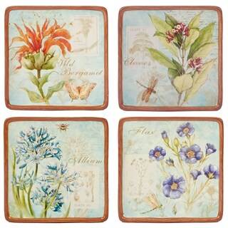 Certified International Herb Blossoms Canape Plates (Set of 4)