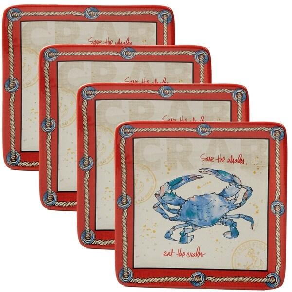 Certified International Coastal Life Crab Dessert Plates (Set of 4)