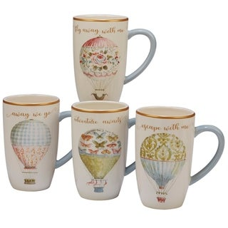 Certified International Beautiful Romance 16-ounce Mugs (Set of 4)