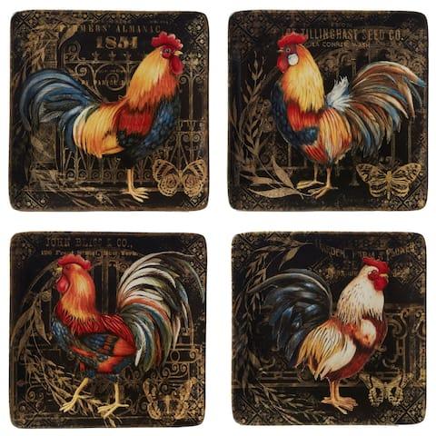 Certified International Gilded Rooster Dinner Plates (Set of 4)