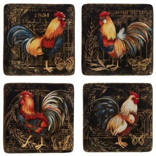 Certified International Gilded Rooster Dinner Plates (Set of 4)