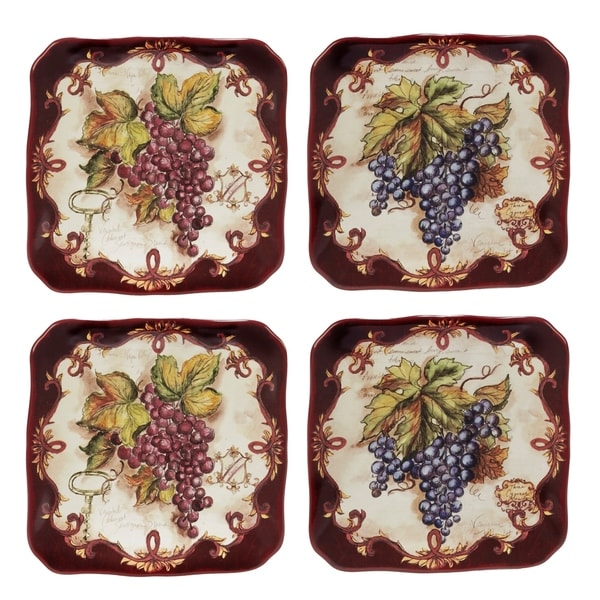 Certified International Vintners Journal Canape Plates (Set of 4)