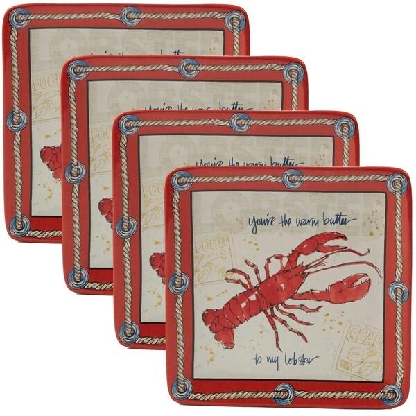 Certified International Coastal Life Lobster Dessert Plates (Set of 4)
