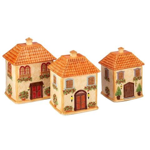 Certified International Piazzette 3-piece 3-d Villa House Canister Set