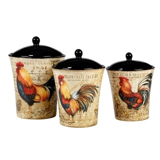 Bon Certified International Gilded Rooster 3 Piece Canister Set