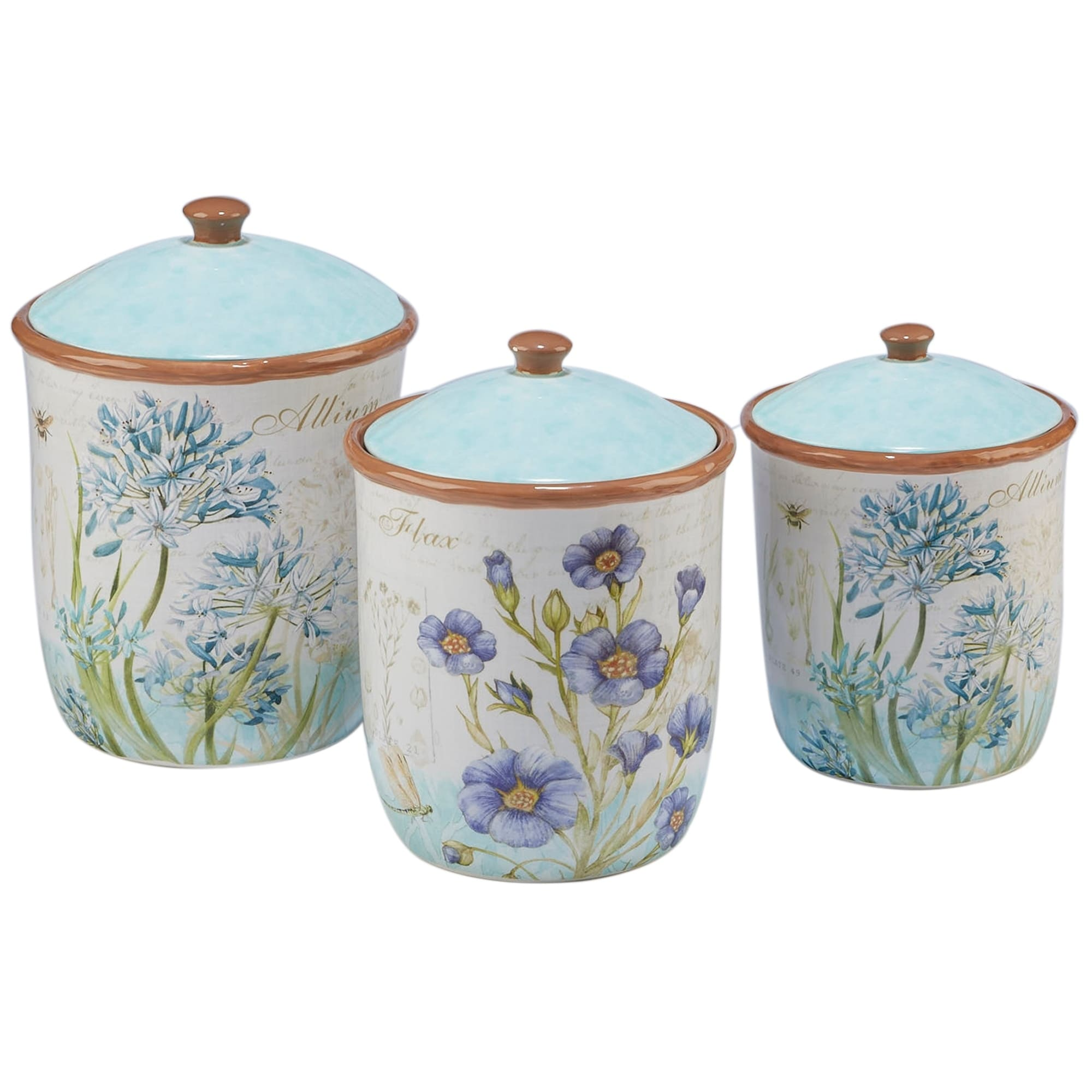 Certified Intl Herb Blossoms 3-piece Canister Set, Blue (...