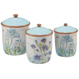 Certified International Herb Blossoms 3-piece Canister Set