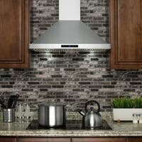 Golden Vantage RH0284 30 in. Kitchen Wall Mount Range Hood in Stainless Steel with LEDs and Touch Control
