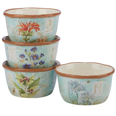 Certified International Herb Blossoms Ice Cream Bowls (Set of 4)