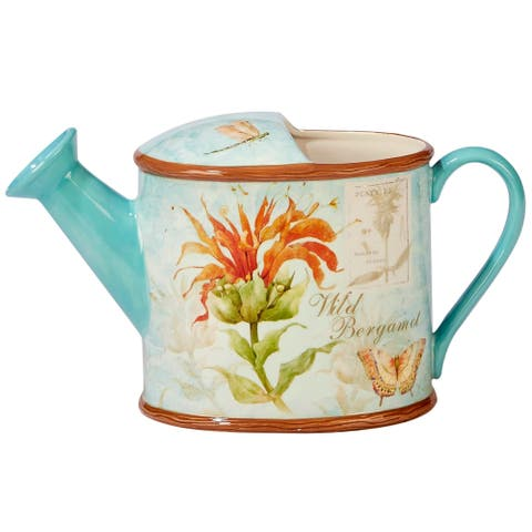 Certified International Herb Blossoms 3-quart 3-d Watering Can Pitcher