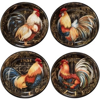 Certified International Gilded Rooster Soup/Pasta Bowls (Set of 4)