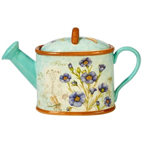 Certified International Herb Blossoms 32-ounce 3-d Watering Can Teapot