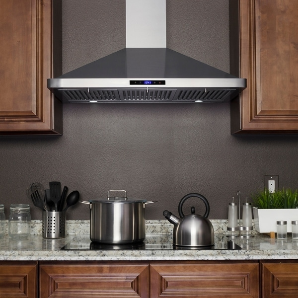 Golden Vantage Rh0285 36 In Kitchen Wall Mount Range Hood Stainless Steel With Leds