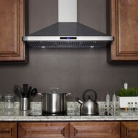 Golden Vantage RH0285 36 in. Kitchen Wall Mount Range Hood in Stainless Steel with LEDs and Touch Control