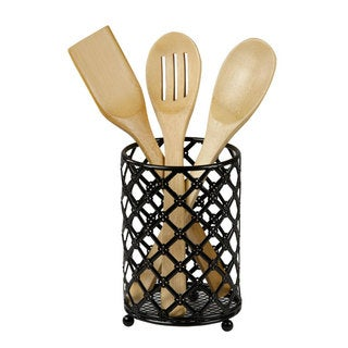 Home Basics Black Steel Lattice Cutlery Holder