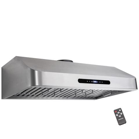 "Golden Vantage RH0308 36"" Under Cabinet Stainless Steel Kitchen Cooking Fan Range Hood With Gas Sensor and Remote Control"