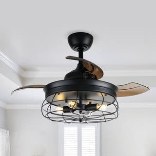 Industrial 34-inch 4-Blades Ceiling Fan with Remote