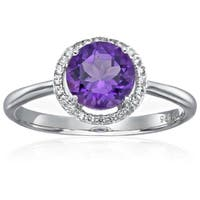 Pinctore Sterling Silver African Amethyst & Natural White Zircon Ring, Size 7 - Purple