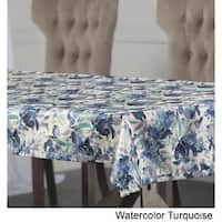 Exclusive Fabrics Watercolor Turquoise Designer Faux Silk Taffeta Outdoor Table Cloth