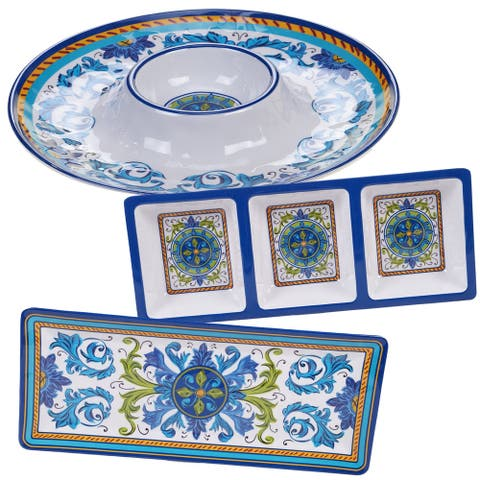 Certified International Lucca 3-piece Melamine Hostess Serving Set