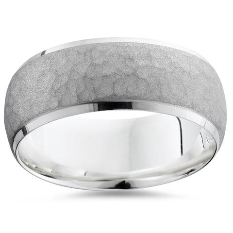 Pompeii3 Platinum 7MM Hammered Brushed Beveled Edge Mens Ring Wedding Band - White