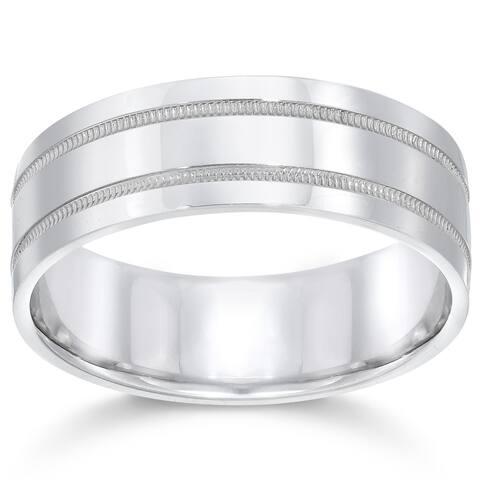 Pompeii3 Platinum 7MM Flat Milgrain Double Row Mens Ring Wedding Comfort Fit Band - White