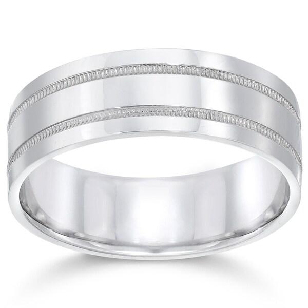 Milgrain Wedding Ring In Platinum 7mm: Shop Bliss Platinum 7MM Flat Milgrain Double Row Mens Ring