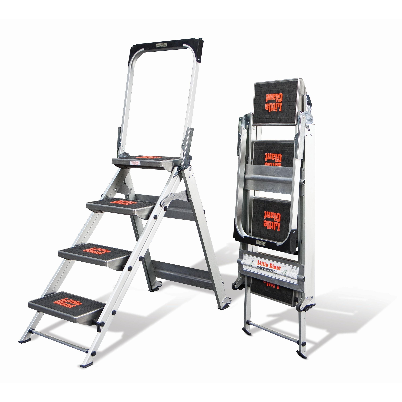 Peachy Little Giant Aluminum 4 Step Safety Step Stepstool Step Ladder Machost Co Dining Chair Design Ideas Machostcouk
