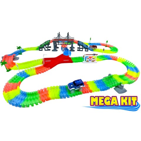 Mega Magic Light Up Twisting Neon Glow In The Dark Race Track Set - Race Track Car Toy Endless Glowing Track Possibilities