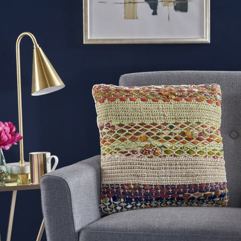 Layson Square Multi Cotton Pillow by Christopher Knight Home