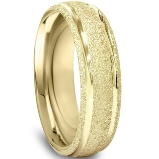Bliss 10k Yellow Gold Brushed Mans 5MM Comfort Fit Wedding Ring Mens Band - White