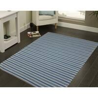 Multi-purpose Dylan Dusk Blue Stripe Indoor/Outdoor Rug - 8' x 11'