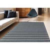 Multi-purpose Dylan Steel Gray Stripe Indoor/Outdoor Rug - 7'6 x 9'6