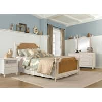 Hillsdale Melanie White Wood King Bed with Natural Cane Panels (Metal Bed Rails Not Included)