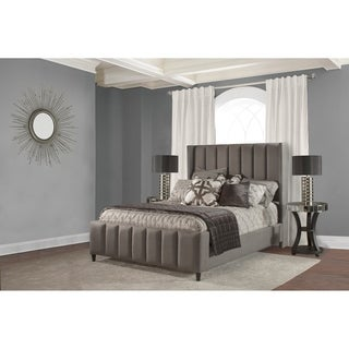 Hillsdale Concord Grey Linen Fabric King Size Bed with Side Rails Included