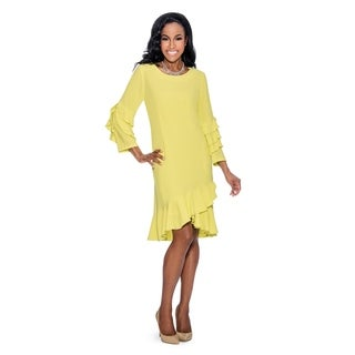 Giovanna Signature Women's Stretch Crepe Ruffled Sleeve and Sweep Shift Dress