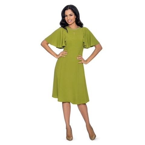 Giovanna Signature Women's Lotus Leaf Style Short Sleeve Shift Dress