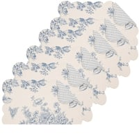 Nelly Blue Cotton Quilted Reversible Oblong Placemat Set of 6