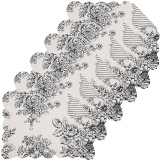 Nelly Onyx Cotton Quilted Reversible Oblong Placemat Set of 6