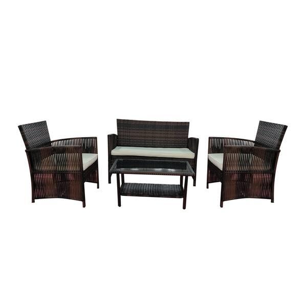 4 Pieces Patio Furniture Dining Set